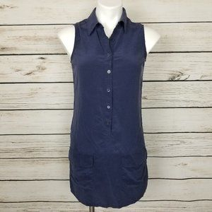 Equipment Silk Shirt Tunic Dress Sz XS Navy